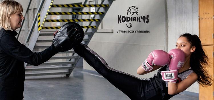 Zarha Slimani du Kodiak'95, championne d'Île de France 2016 de boxe française