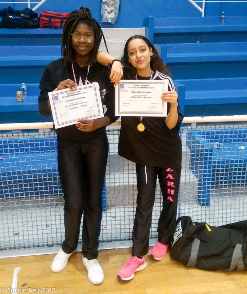 Championnat Ile de France 2017 de boxe française jeunes - Aisha Coulibaly et Zarha Slimani