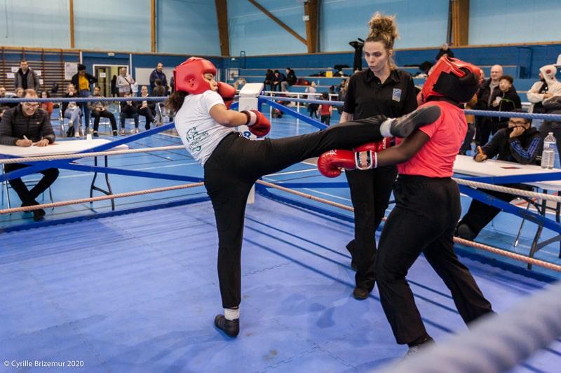 Erika Moroni au Championnat départemental jeunes de savate boxe française 2020