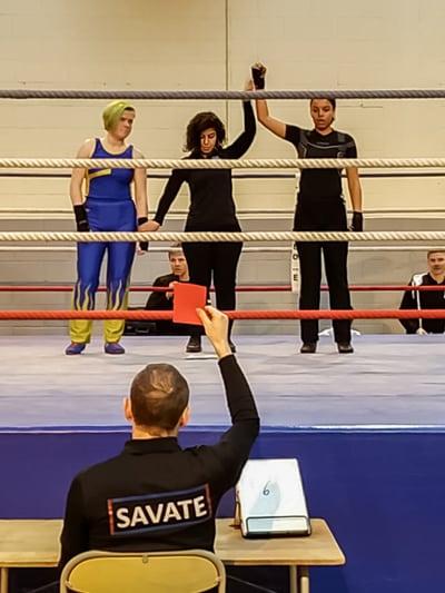 Sara Djondo aux championnats de boxe française 2020
